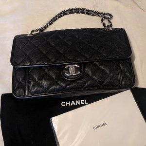 Chanel Caviar leather Flap bag w/ silver hardware